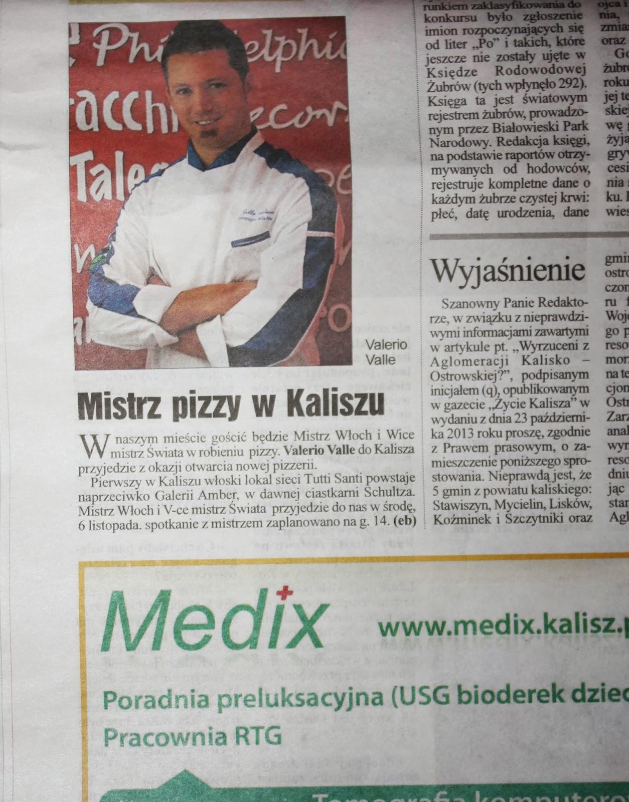 Mistrz pizzy w Zaliszu- Arriva a Kalisz il maestro della Pizza