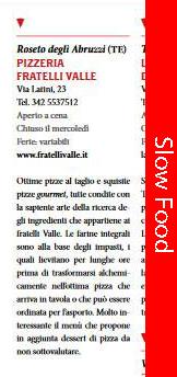 La Pizzeria Fratelli Valle nella guida SLOW FOOD